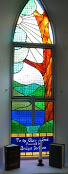 St Mark's Church modern stained glass window inscribed To the Glory of God